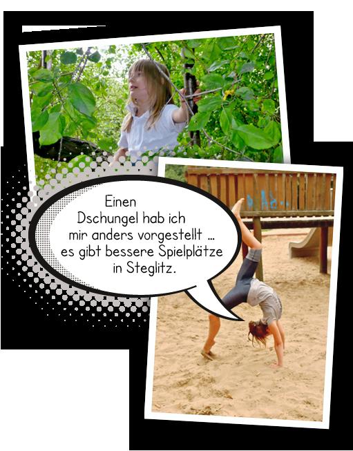 Bildercollage Dschungelspielplatz im Bäkepark