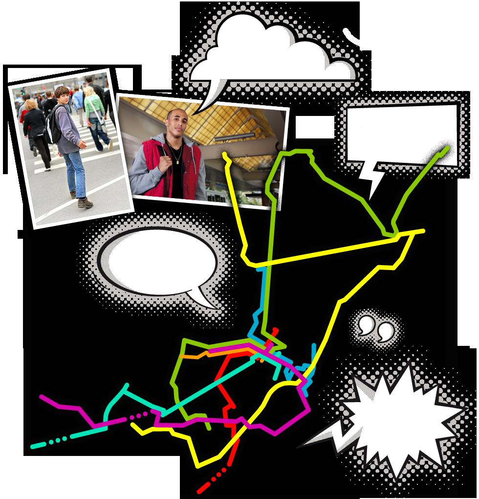 Junge Leute, Routengrafik und Sprechblasen